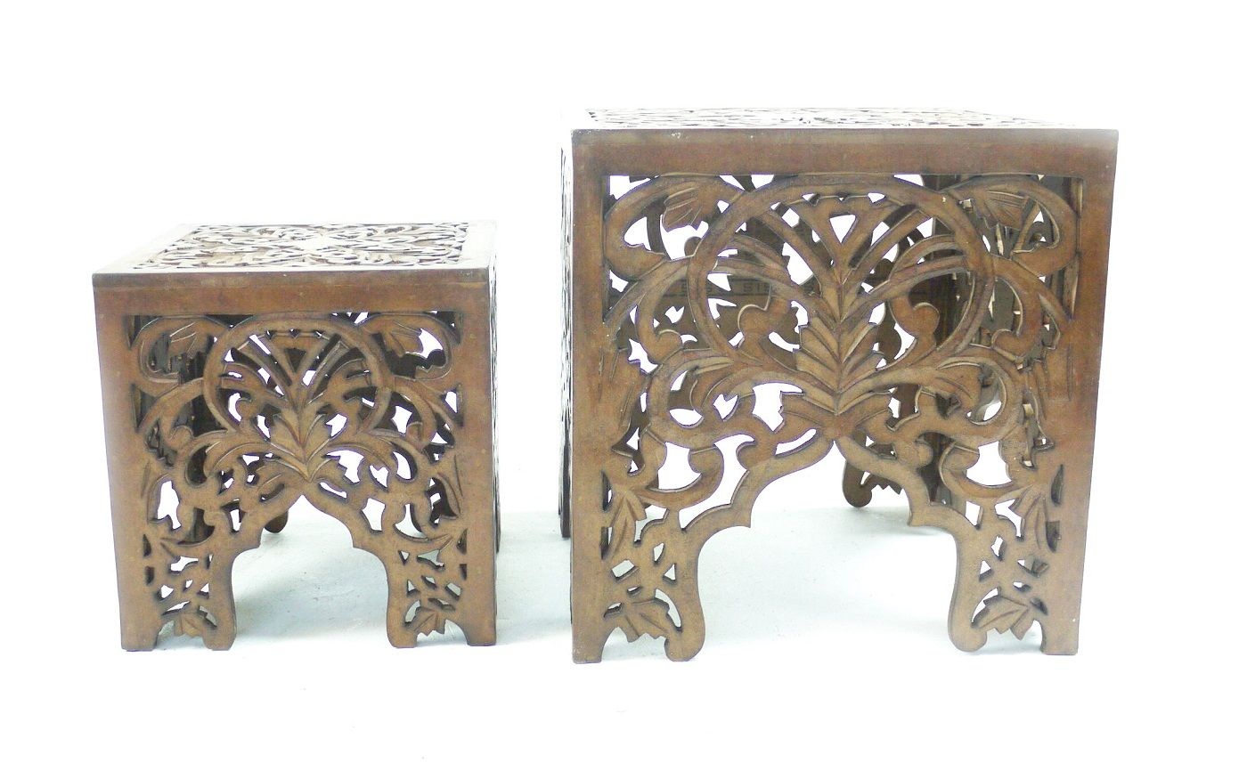 Beautiful Brown White Square Hand Carved Indian Wooden